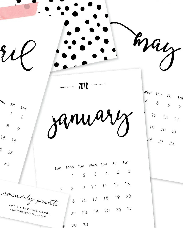 2018 Calendar. 12 Month Desk or Wall Calendar. 2018