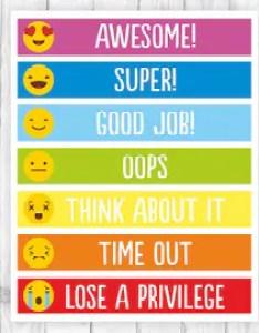 Behavior chart printable kids behaviour emoji sign rewards rainbow children for also etsy rh