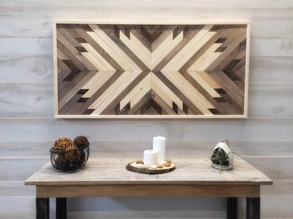 Wood Wall Art Decor Modern Farmhouse Geometric