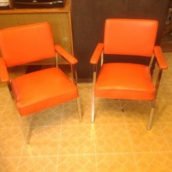 Steelcase Vintage Chair Wassily Brown Leather 4 Orange Vinyl Chrome Office Chairs Pick Etsy Image 0