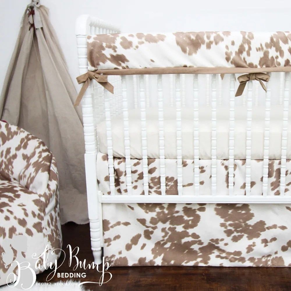 tan cowhide gender neutral baby crib bedding rustic cowhide baby boy nursery faux cowhide baby bedding set cowhide crib bedding set