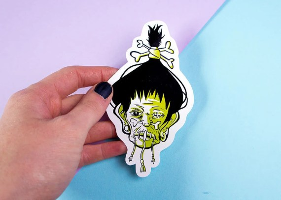 Goth sticker - voodoo head - shrunken head sticker - rockabilly - witchcraft sticker set - witch stationary - stephanie male