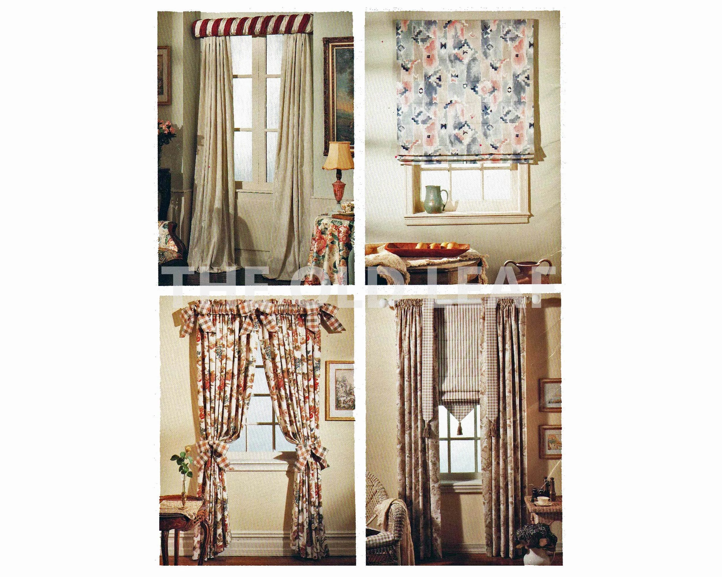 sewing pattern for roman shade curtains rod sleeve mccalls 7937 uncut