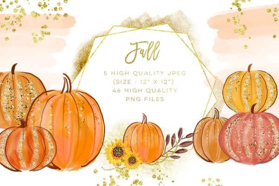 fall watercolor clipart pumpkin