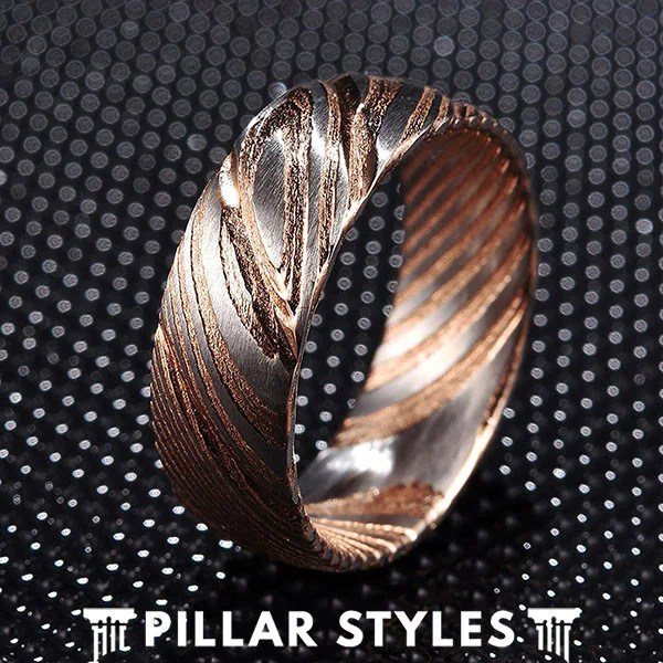 8mm Damascus Steel Ring Mens Wedding Band Damascus Rose Gold Etsy