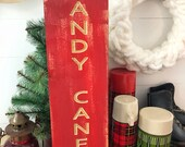 Wood Engraved Candy Cane ...