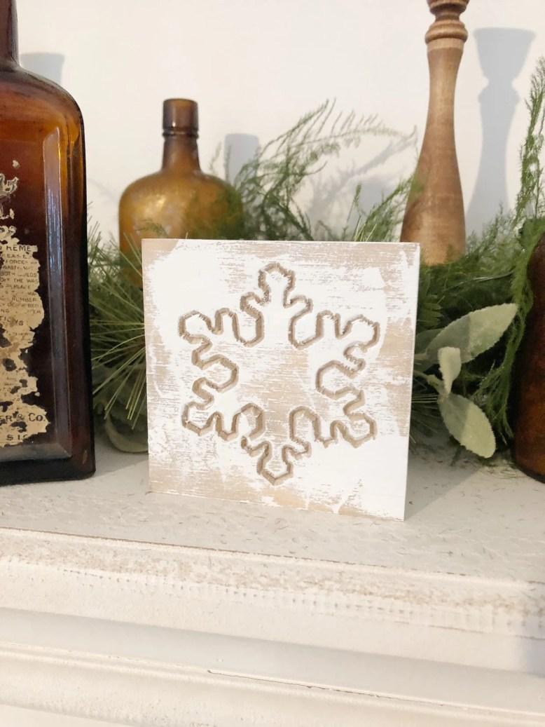Wood Engraved Snowflake C...