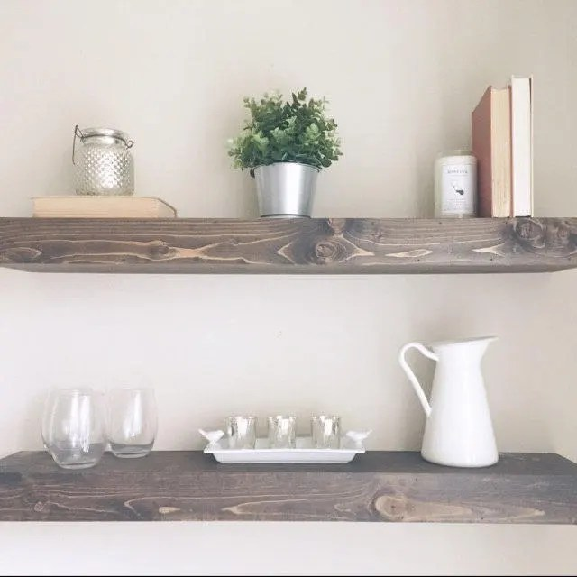 kitchen shelf decor what color cabinets for a small etsy floating shelves bathroom wood wall home modern