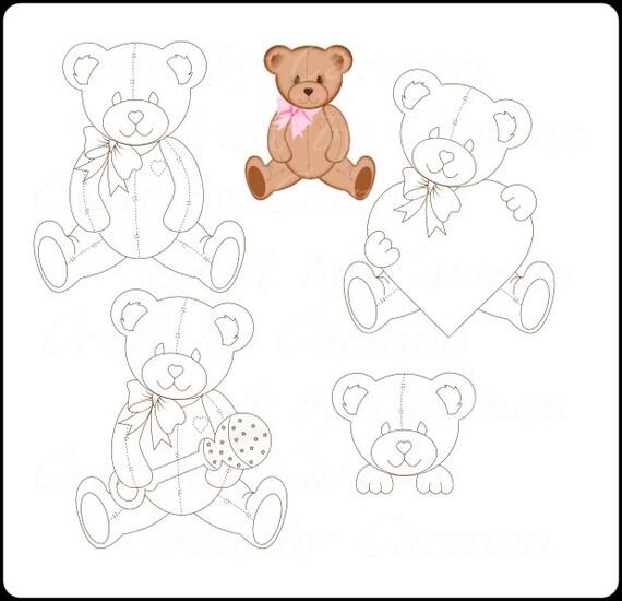 teddy bear digital stamp