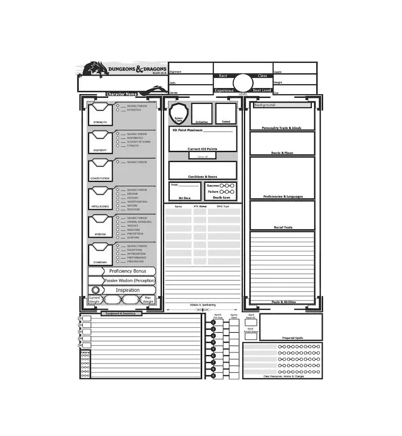 printable d d character