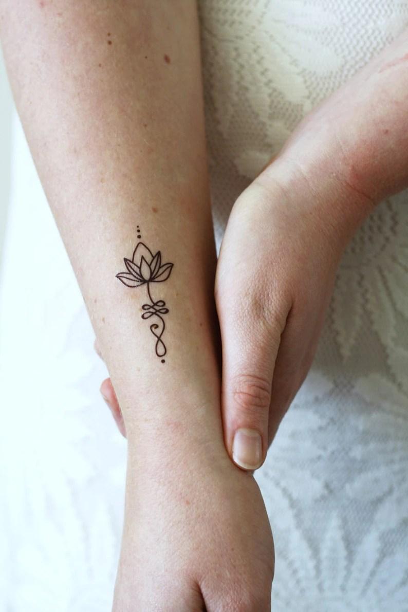 Unalome Lotus Temporary Tattoo Set Of Two Bohemian Temporary Etsy