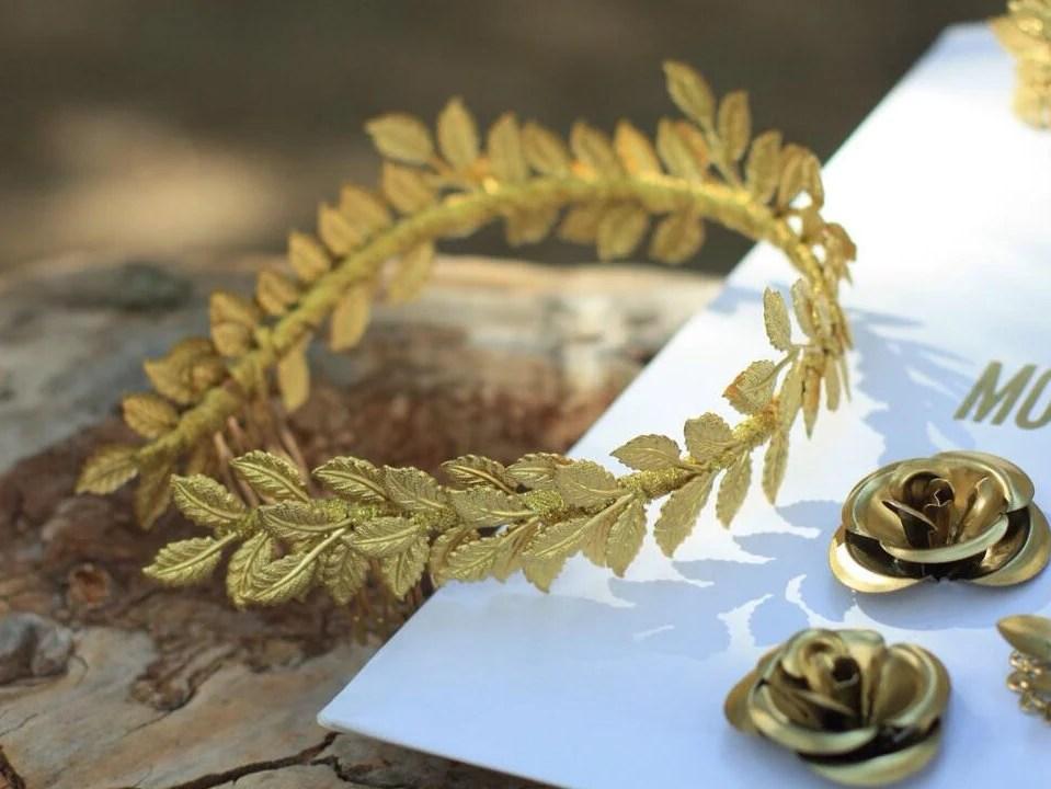 Blattgold Krone Lorbeerkranz Diadem griechischen Blatt  Etsy