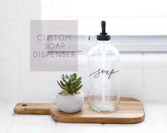 dispenser kitchen black faucet soap etsy add on custom calligraphy clear farmhouse modern industrial decor bathroom