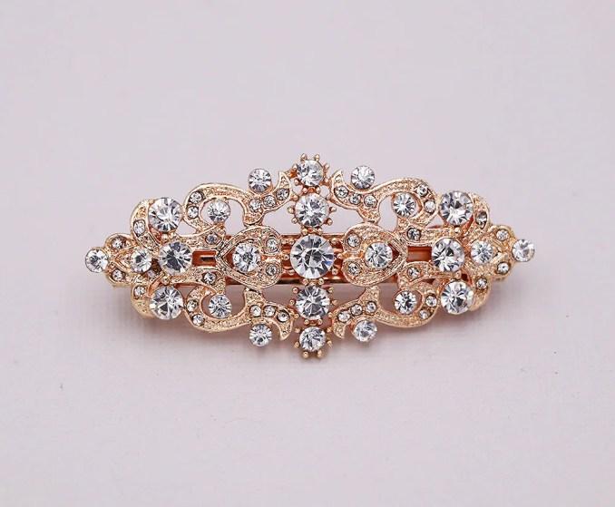 rose gold wedding barrette, barrette crystal, wedding crystal hair clip, gold hair barette, bridal barrette, valerie rose gold barrette