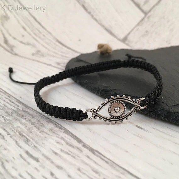 Evil Eye Macramé Connector Bracelet