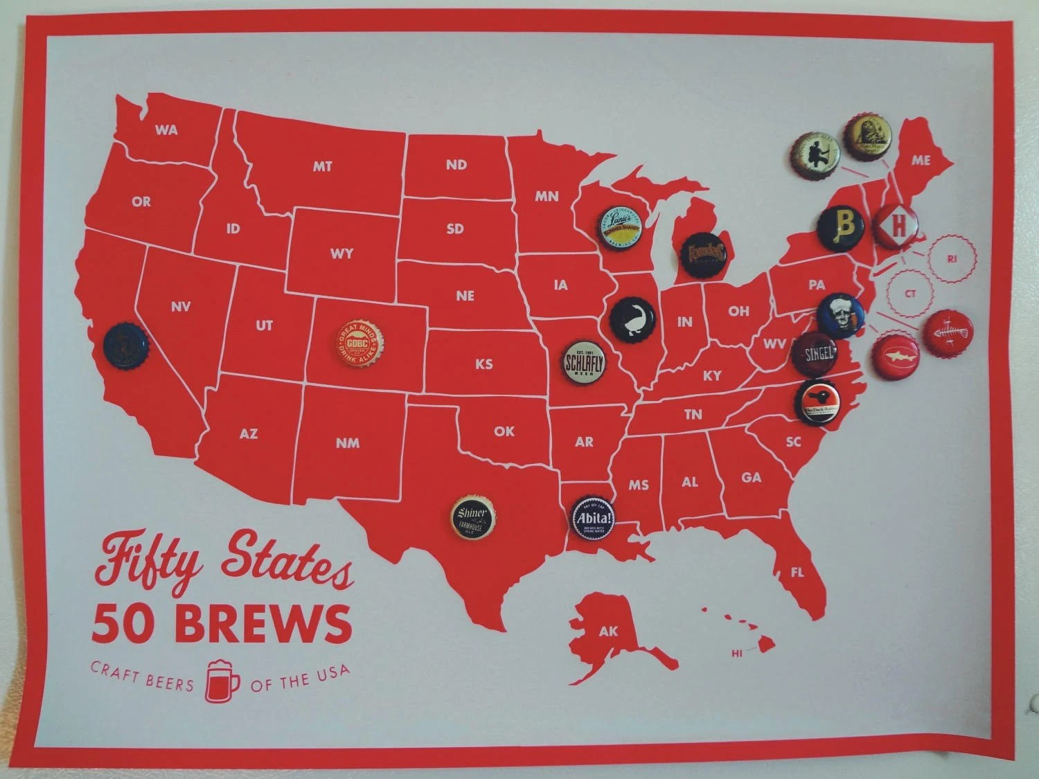50 States 50 Brews Beer Cap Collecting Map Kit For The