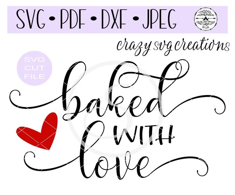 Download Baked With Love SVG Digital Cut File HTV Cut File Vinyl   Etsy