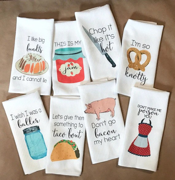kitchen towels how to resurface cabinets funny decor hostess gift dish etsy image 0