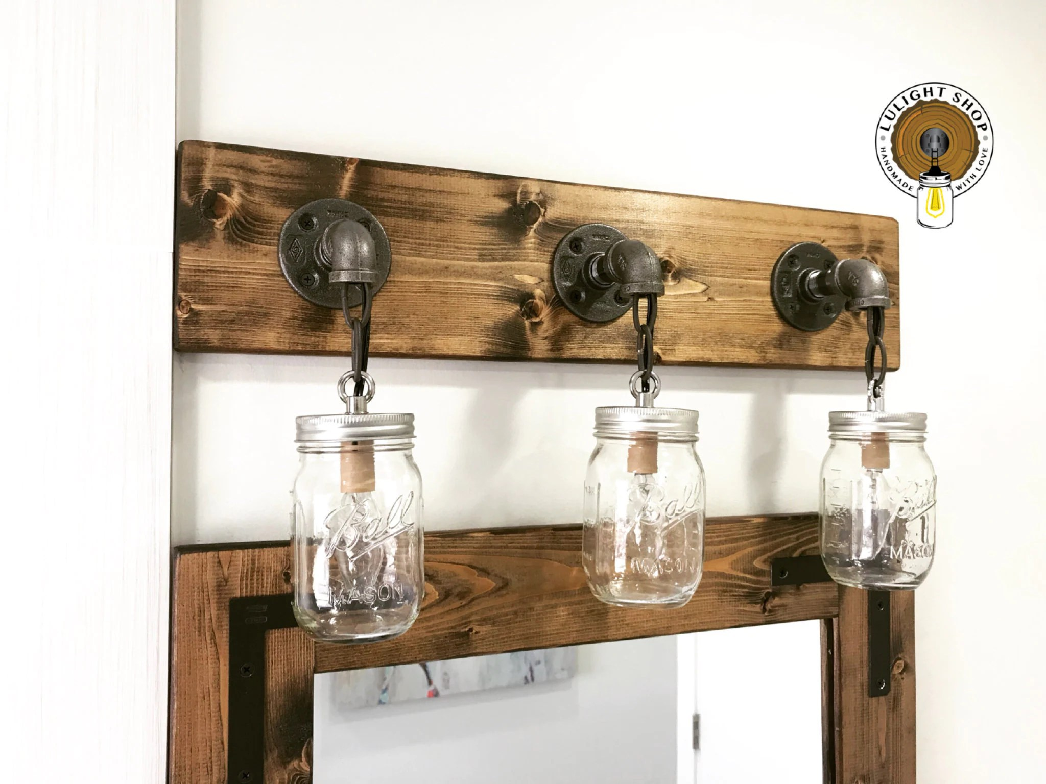Mason Jar Bathroom Light Dark Walnut Mason Jar Light Bar Light Fixture Wall Fixture Rustic Industrial Handmade Decor Bathroom Light Pendant Light Authentic Jar