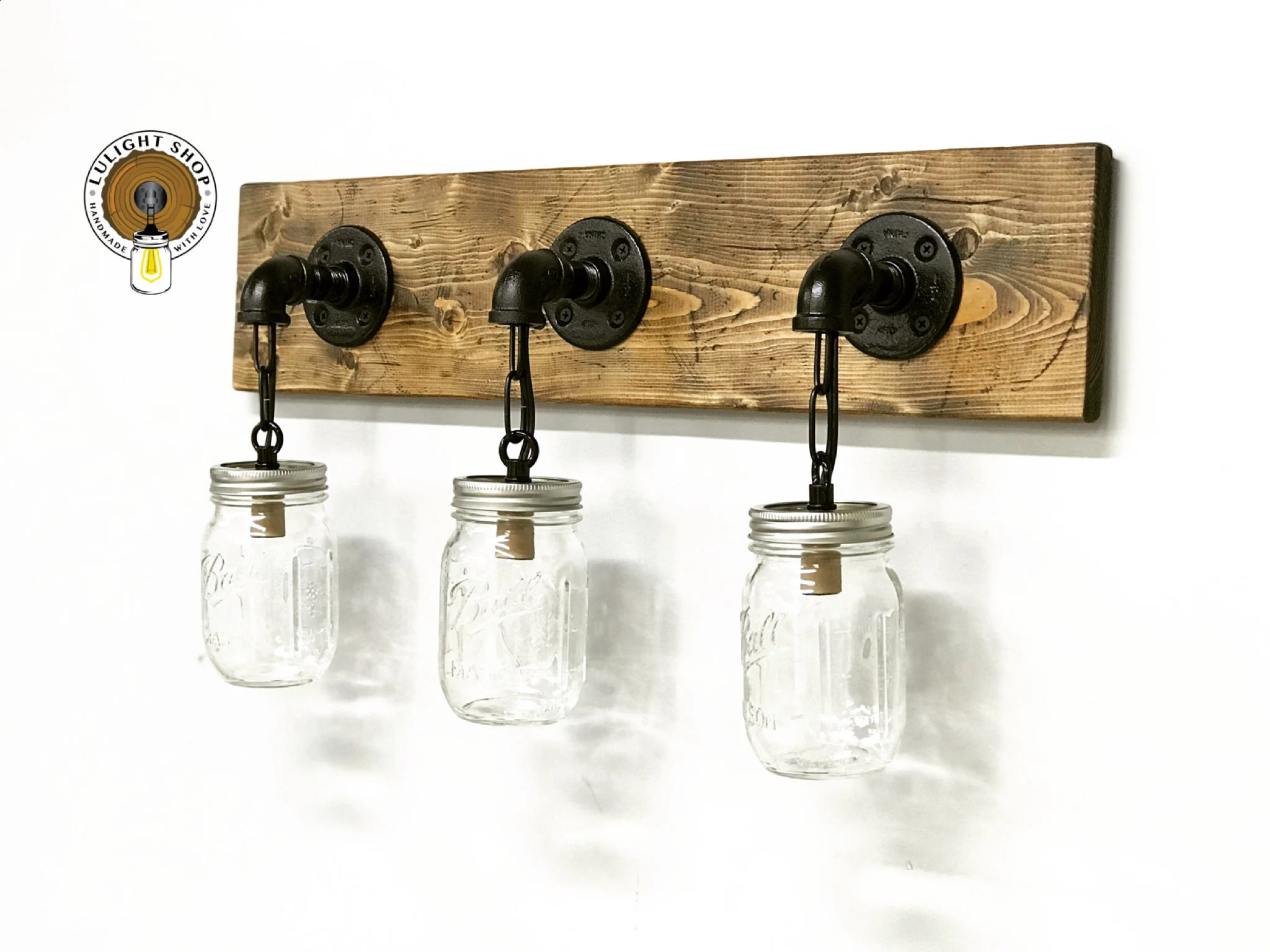 Mason Jar Bathroom Light Rustic Distressed Mason Jar Bathroom Light Lighting Fixtures Wall Lights Mason Jars Bathroom Mirror Lighting Black Pipe Light Fixture