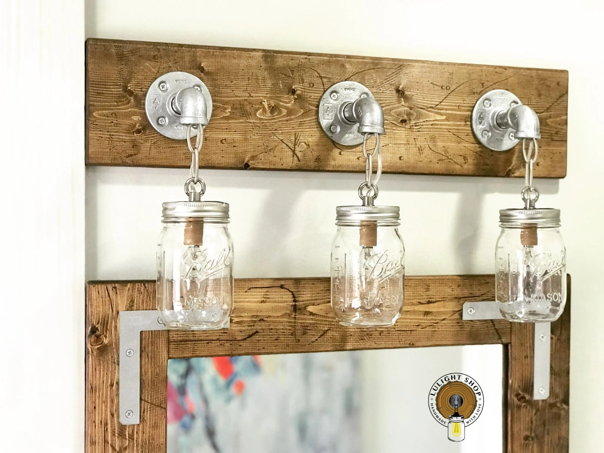 Mason Jar Bathroom Light Rustic Distressed Mason Jar Light 3 Light Vanity Light Bathroom Light Fixture Handmade Mason Jar Lighting Jar Lights Mason Jar Decor