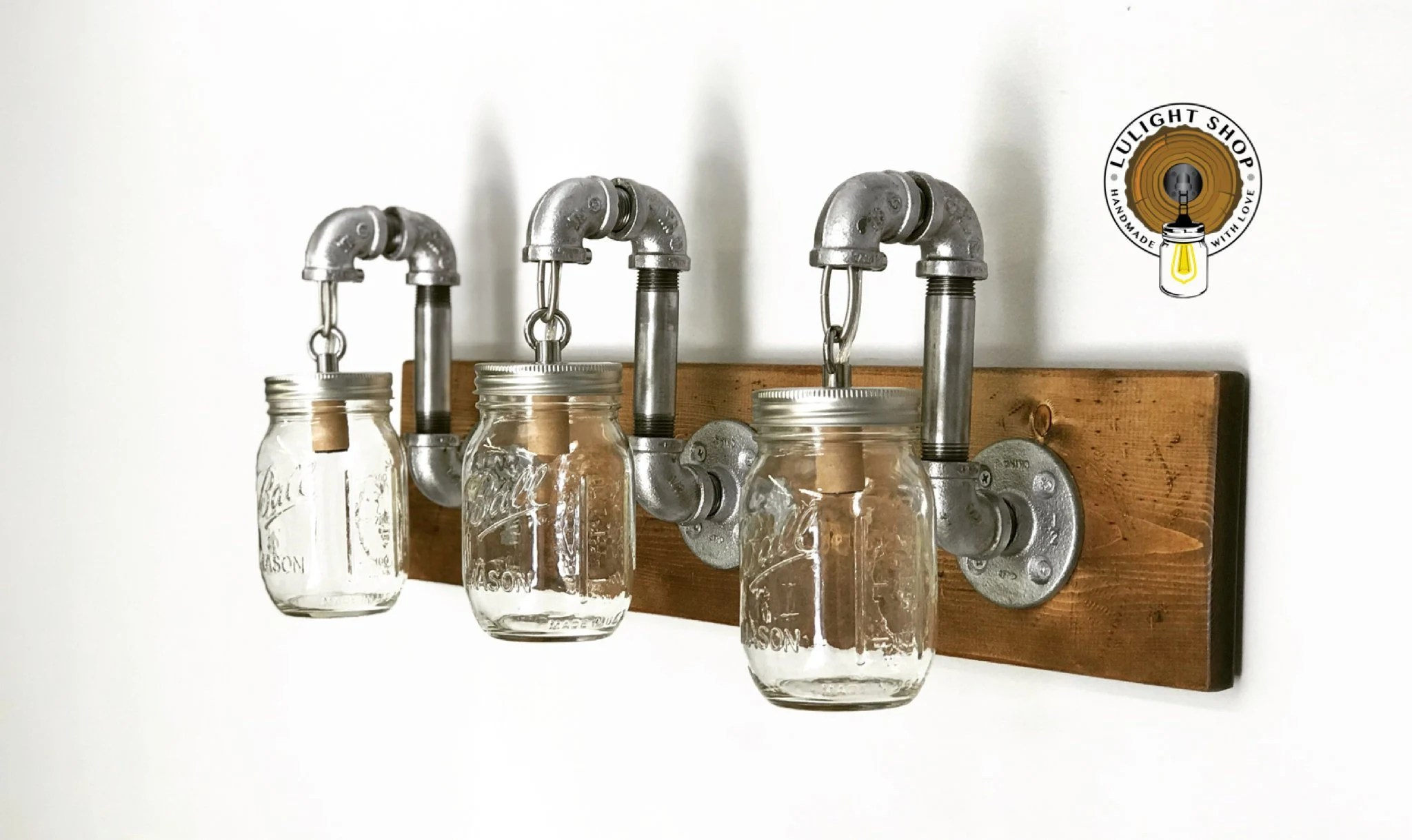 Mason Jar Bathroom Light Rustic Distressed Mason Jar Light Fixture 3 Mason Jars Light Industrial Lights Modern Light Vanity Light Wall Fixture Bathroom Light