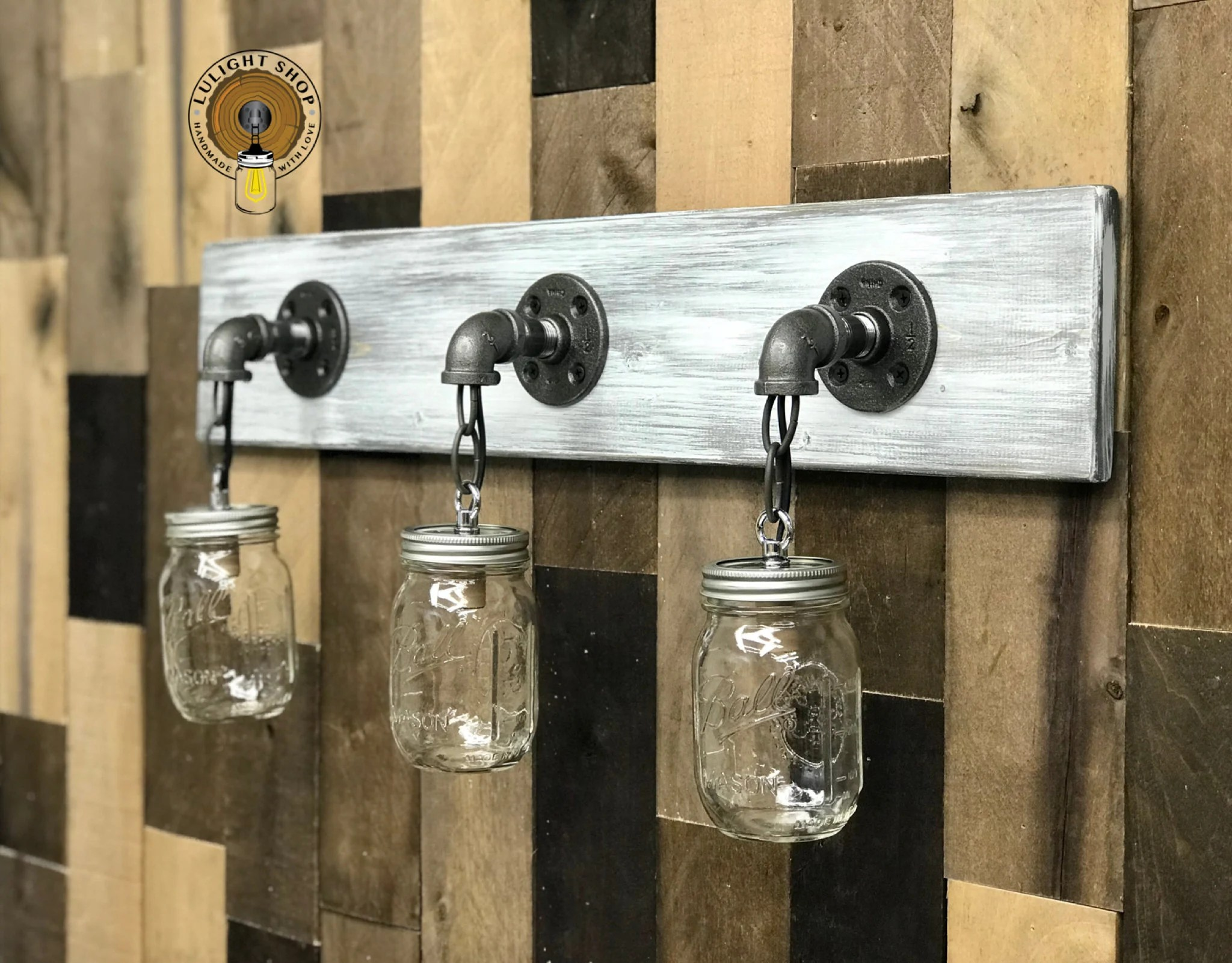Mason Jar Bathroom Light Gray Whitewash Mason Jar Light Fixture Bathroom Decor Bathroom Light Industrial Bathroom Bathroom Hardware Vanity Lights Home Decor