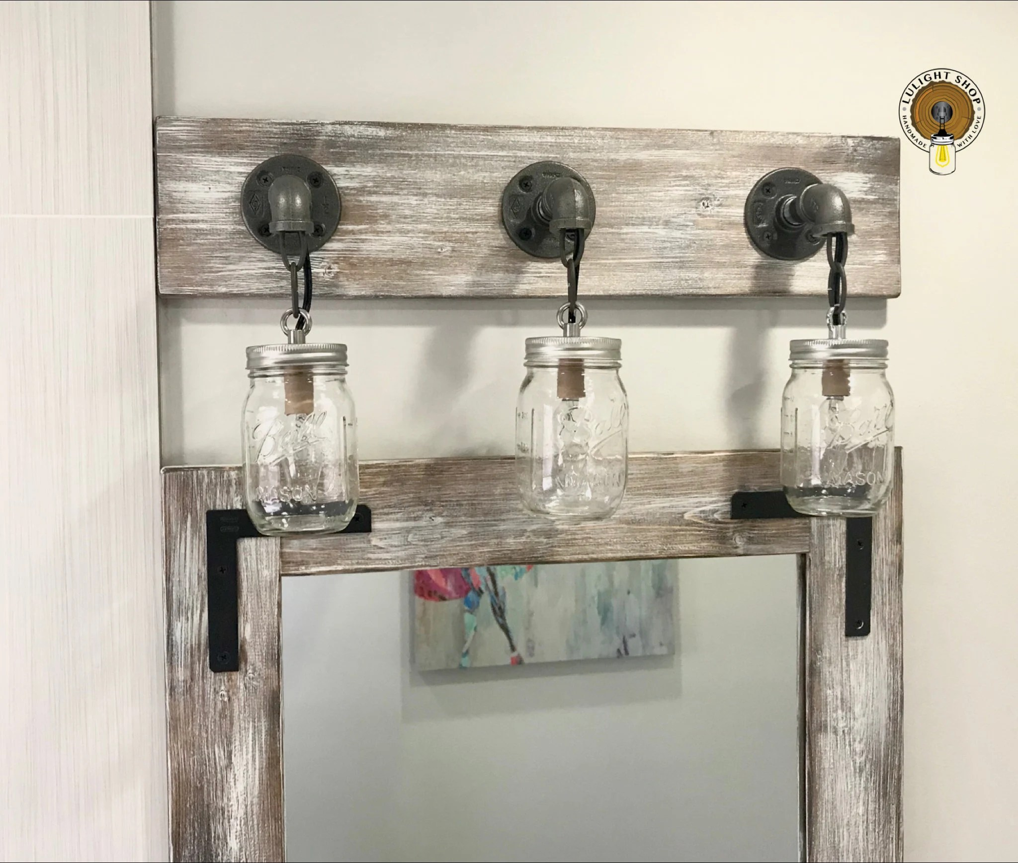 Mason Jar Bathroom Light Light Whitewash Vanity Light Fixture Mason Jar Light Bathroom Lighting Mason Jar Fixtures Wood Light Wall Lighting Beach House Lights