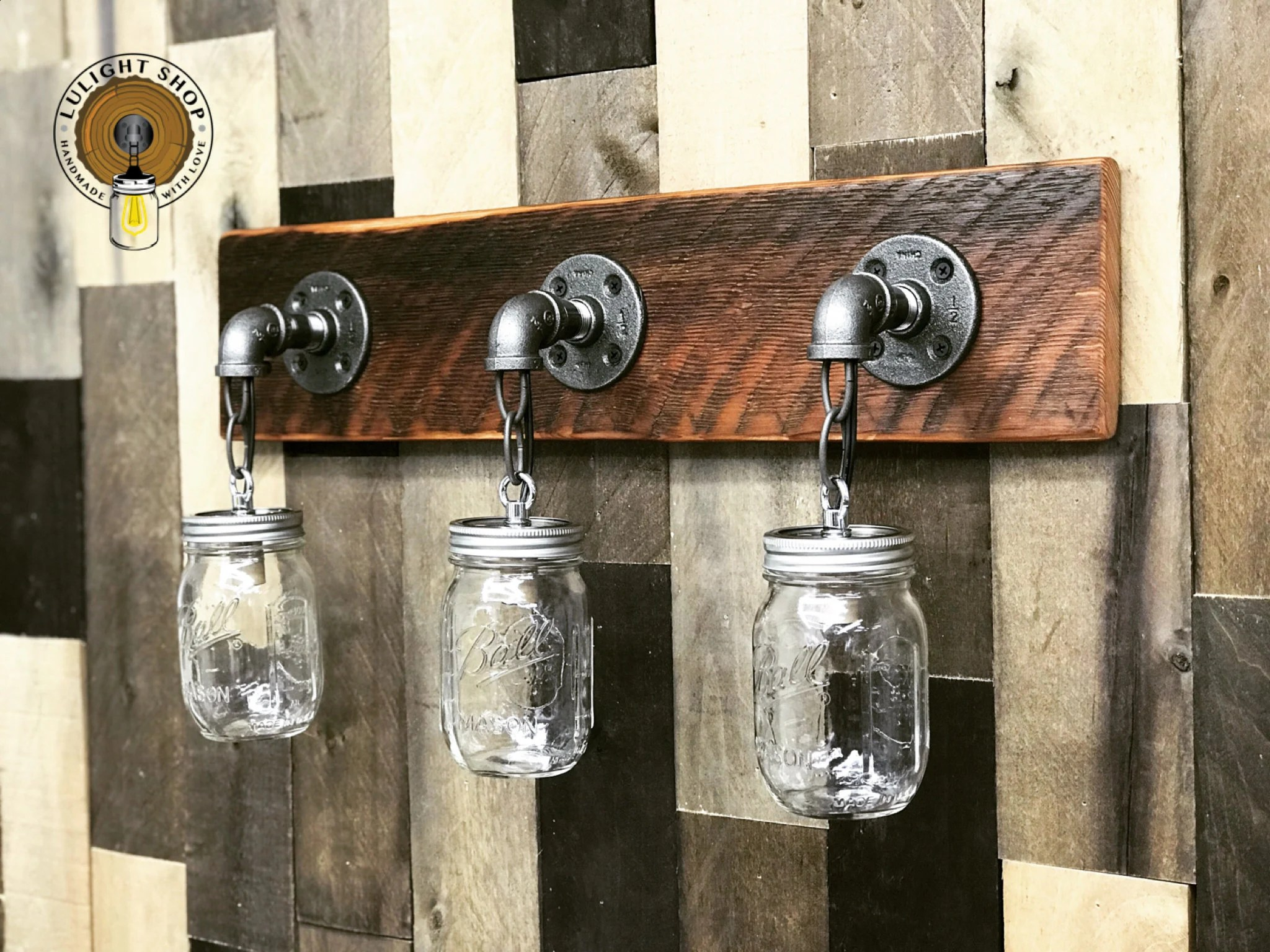Mason Jar Bathroom Light Reclaimed Wood Mason Jar Light Fixture Bathroom Lights 3 Lights Fixture Vanity Lights Wall Lighting Country Rustic Farmhouse Decor Lamp