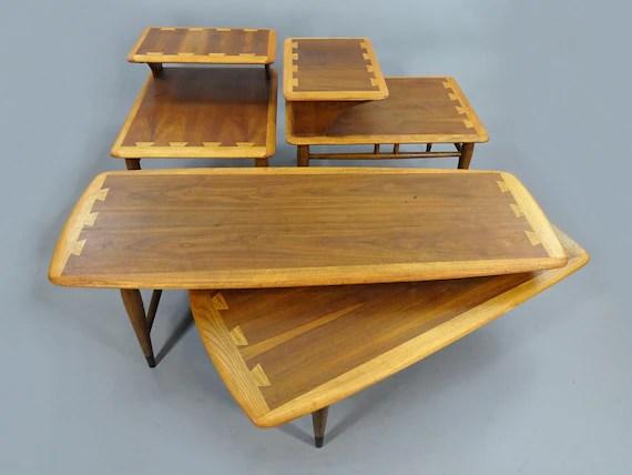 1950s vintage mid century lane acclaim switchblade boomerang coffee table end table set 0900 91 900 07 walnut 3 piece living room set