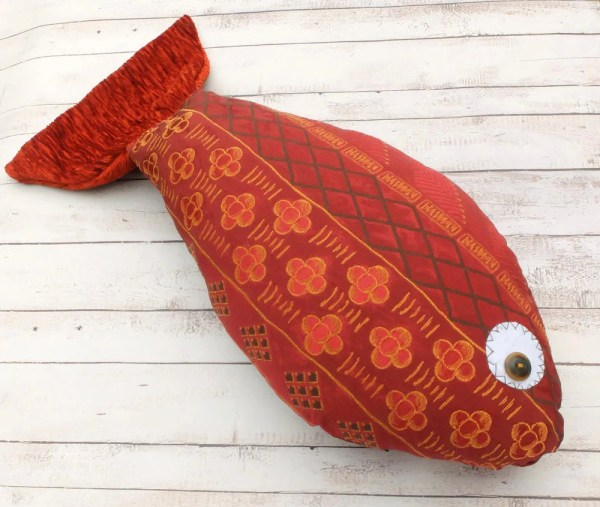 Fish Pillow Stuffed Fisherman Maroon Red
