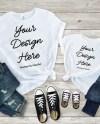 Flat Lay Shirt Adult Kids Mother Daughter White Shirt Mockup Etsy