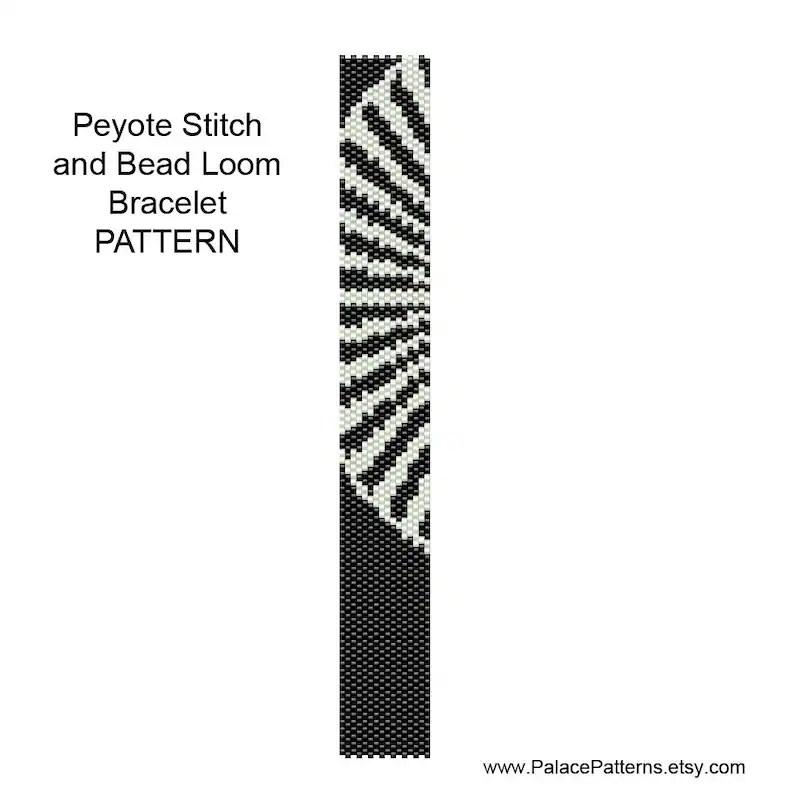 Black and White 1 Bracelet Pattern for Bead Loom Weaving