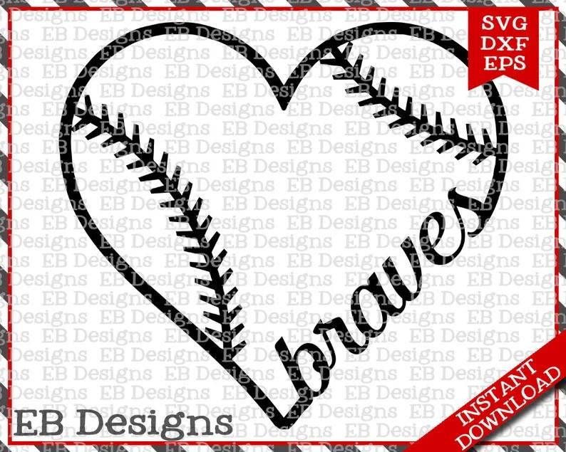 Download Braves Baseball Love SVG DXF EPS Cutting Machine Files | Etsy