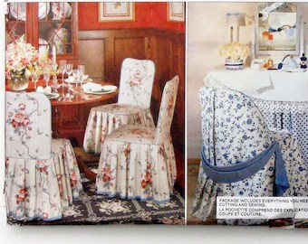 christmas dining room chair covers mismatched chairs etsy vintage 80 s vogue sewing pattern 2374 brewer folding ladder back straight uncut f