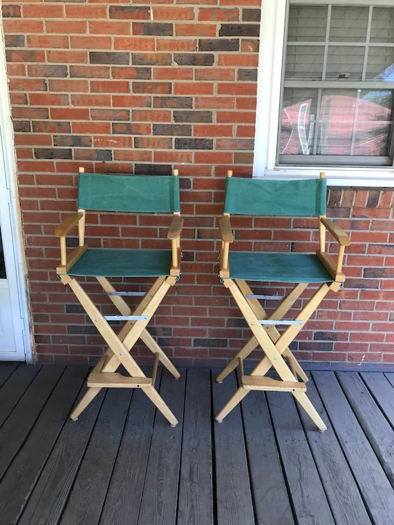 directors chair bar stool ikea pads vintage pair of two tall director chairs stools wood frame etsy image 0