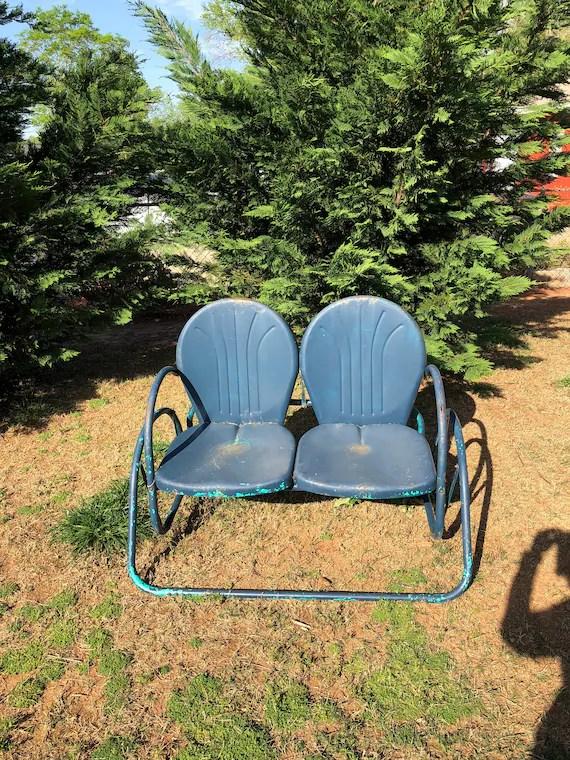 vintage mid century metal patio glider shellback seats blue etsy