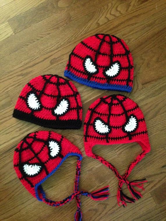 Crochet Spiderman Hats : crochet, spiderman, Crochet, PATTERN, Superhero, Spider, Adult