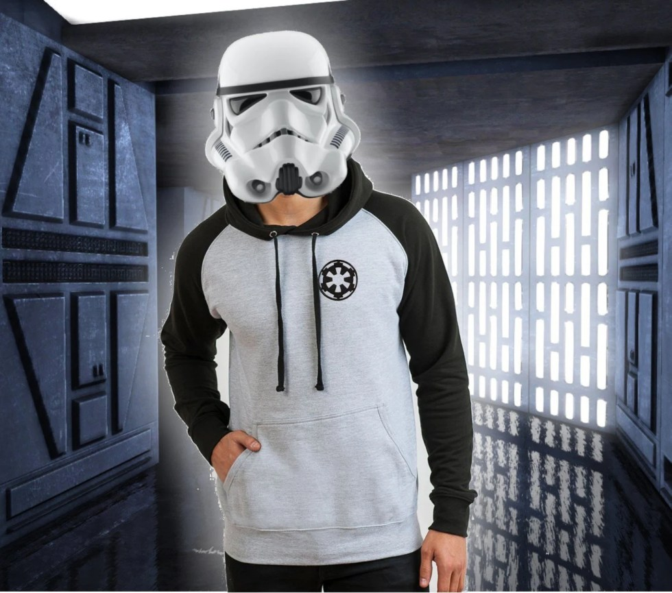 Star Wars Empire Baseball Hoodie. Available in white/black and grey/black