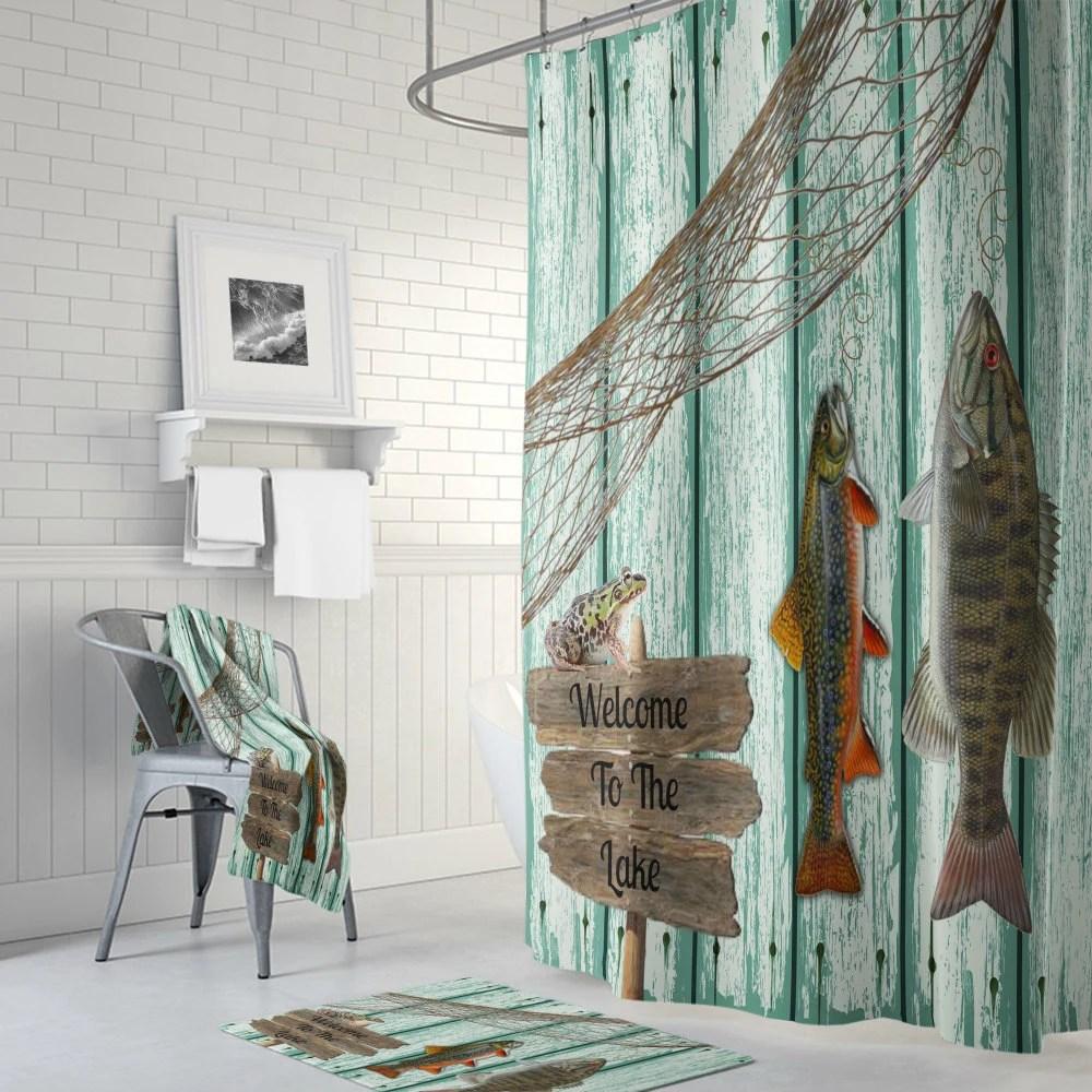 shower curtain fishing grunge primitive