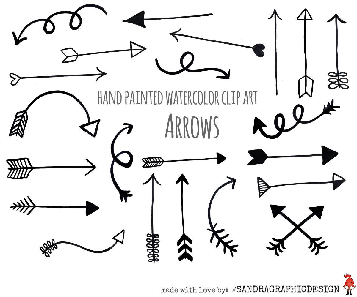 Arrow Clip Art Black Arrows Hand Painted Black