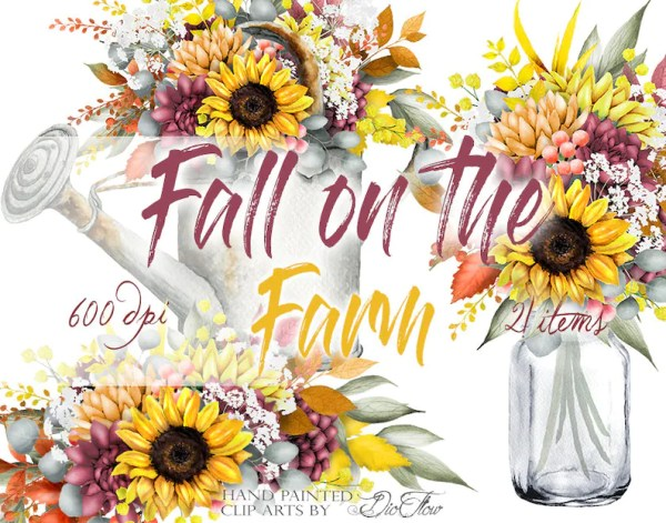 watercolor fall autumn clipart