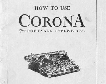Corona Four 4 Portable Typewriter User Instruction Manual