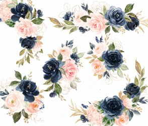 navy watercolor blush clip floral flowers flower individual painted hand clipart transparent invitation pink