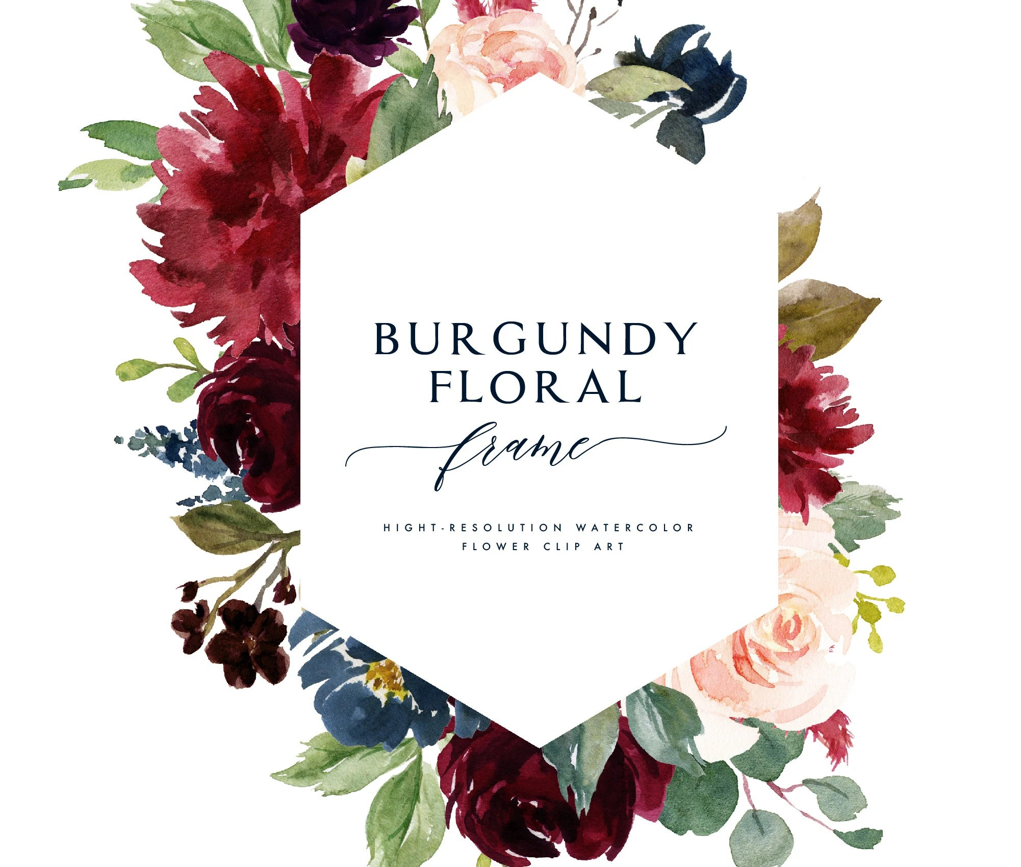 Aquarell Blumen Rahmen ClipartBurgund floralindividuelle