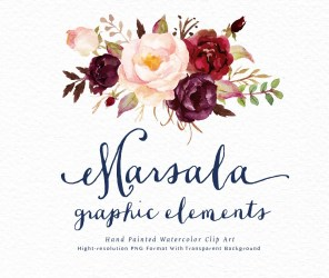 watercolor floral flower flowers clipart boho marsala clip bohemian wedding rustic graphic elements watercolour etsy hand painted wreath individual cliparts