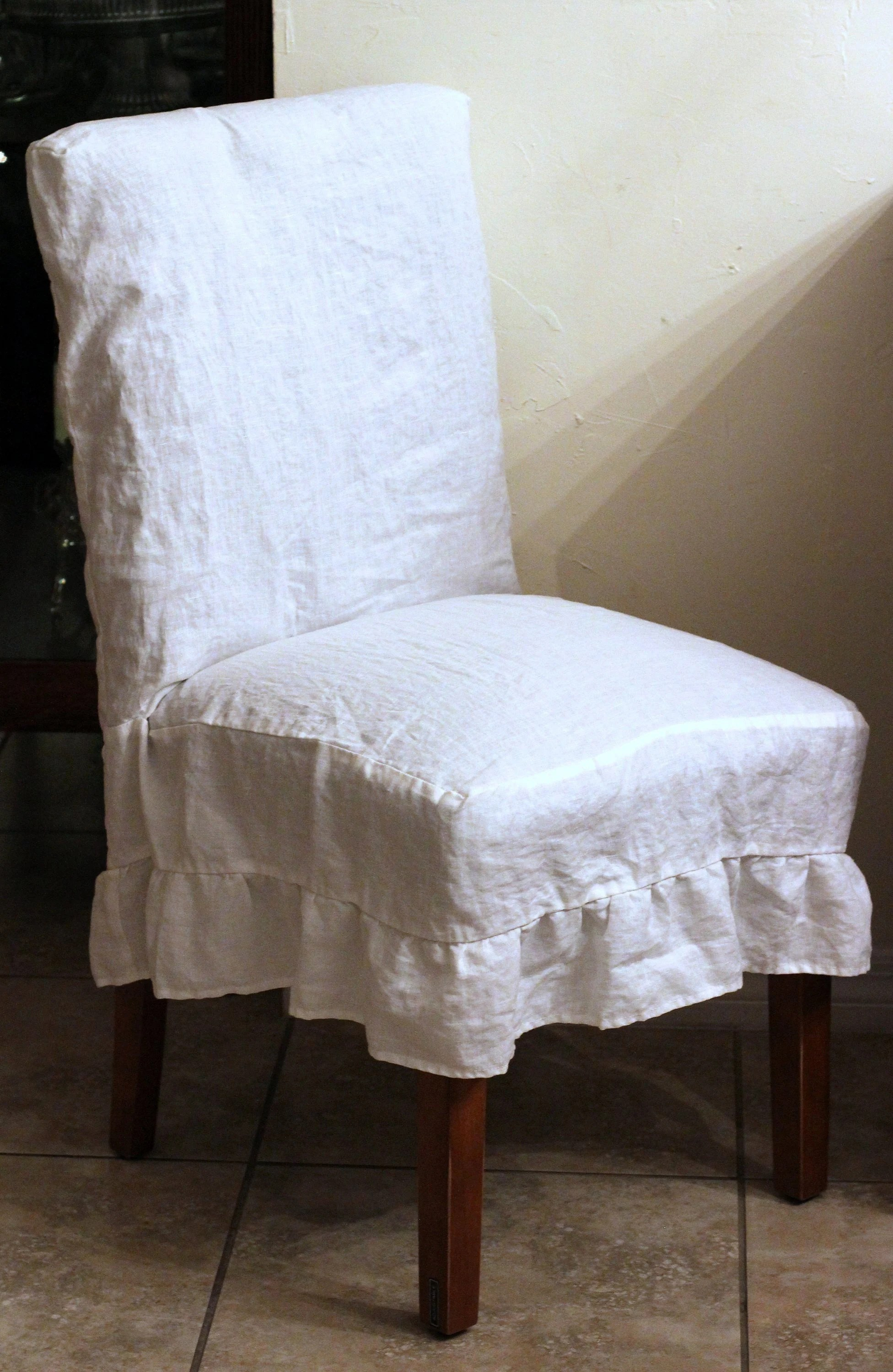 parson chairs camping chair with table slipcover etsy french linen cover ruffle in white and off