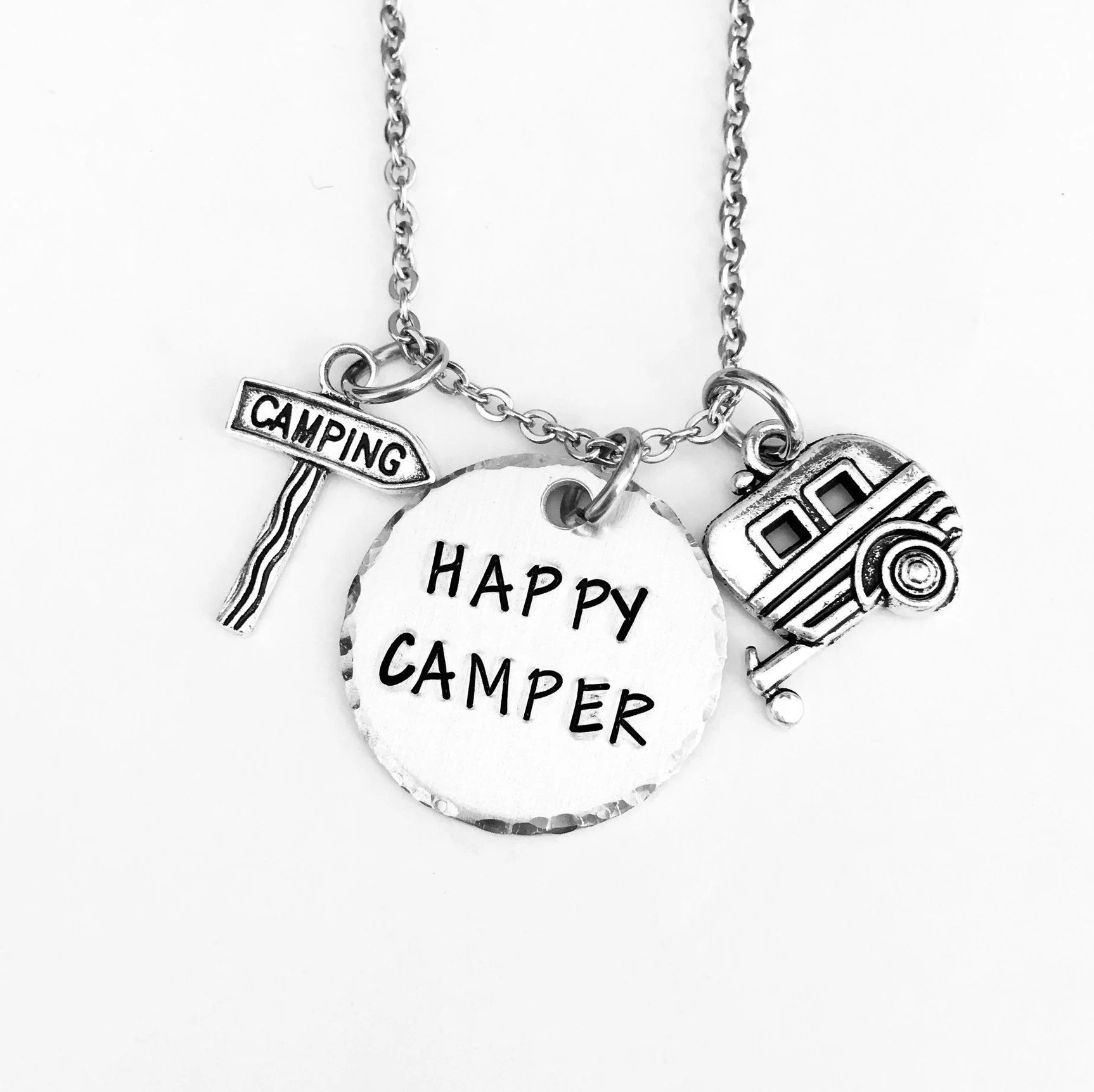 Happy Camper Necklace Keyring Camping Rv Motorhome
