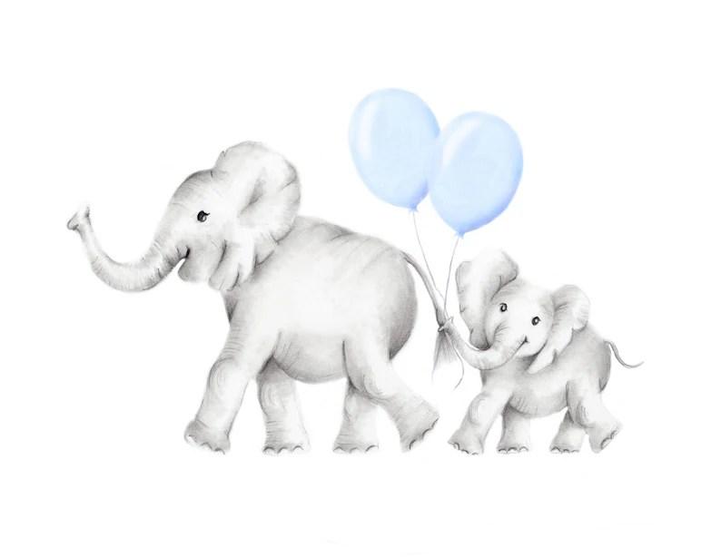 elephant nursery print mom
