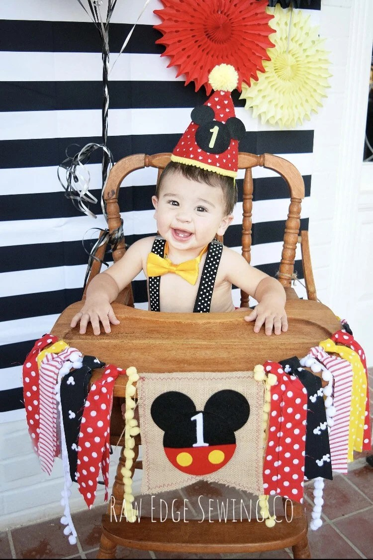 age for high chair living room covers sale mickey mouse birthday highchair banner photo prop backdrop cake smash first one clubhouse vintage baby minnie